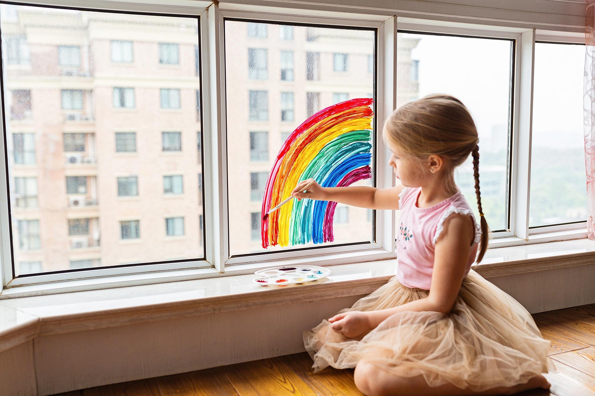 Girl With Rainbow Facepaint