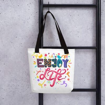 Spacious Tote Bag - Positive Sayings - Enjoy Life